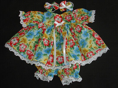Fits16''  Cabbage patch Doll ,Clothes Dress set Bright Flowers