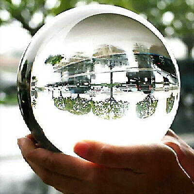 80MM + STAND HUGE ASIAN QUARTZ CLEAR CRYSTAL BALL SPHERE HOT@%