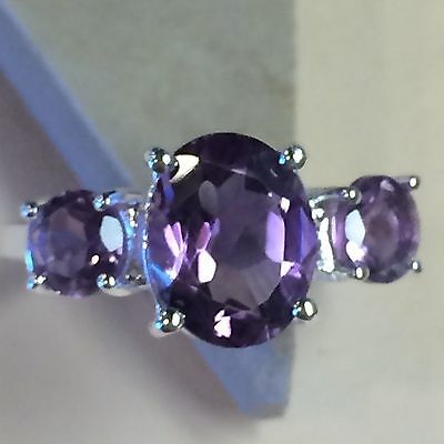 Natural 5ct Amethyst 925 Solid Sterling Silver 3-Stone Ring sz 7.75