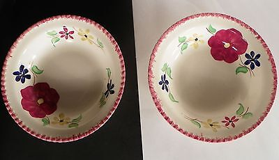 LOT of 2 Blue Ridge Southern Potteries Round Vegetable Bowl Multicolor Flower