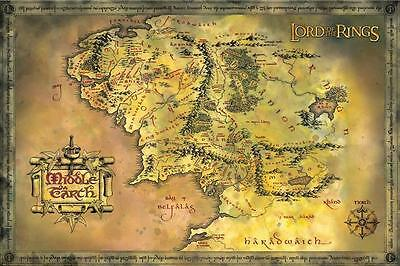 "Lord of the Rings LAMINATED POSTER ""Middle Earth MAP, J.R. Tolkien"" NEW Licensed"
