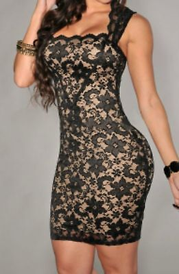 Bodycon black lace sexy nude mini dress cocktail new womens small medium