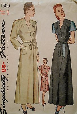 1500 40s VINTAGE sewing HOUSE WRAP robe DAY DRESS PATTERN womens S XS