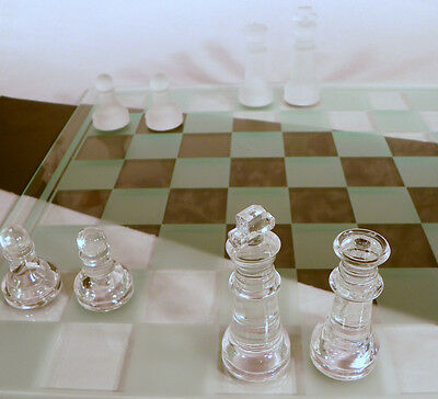 Glass Chess Set 32 Pieces w/ Gameboard EUC in Box