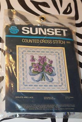 """SUNSET Counted Cross Stitch Kit """"VIOLETS AND LACE"""" - NEW & SEALED!"""