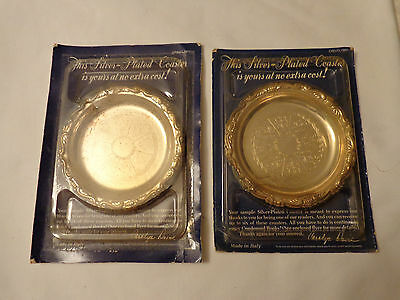 SILVER PLATED COASTERS VINTAGE NEW SET OF 2  READERS DIGEST PLEASANTVILLE NY