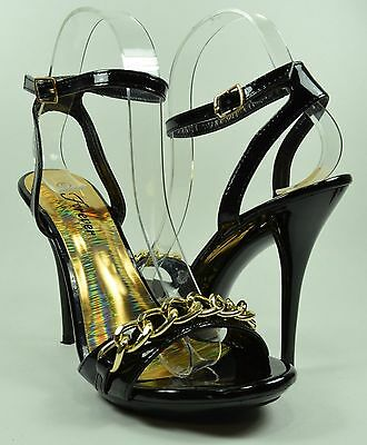 Women High Heels Ankle Strap Style Sexy Gold Chain Fashion Design Black Size 8.5