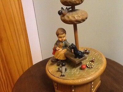 Vintage ANRI Reuge Wooden Music Box Swiss Movement/Plays Gigi/not Working/Parts