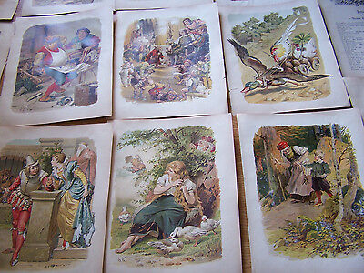 1863 Antique Chromo Lithographs Grimm's Fairy Tales Germany