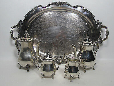 Vintage Royal Rose by Wallace Silverplate 5-PC Tea & Coffee Service w/ Tray yqz