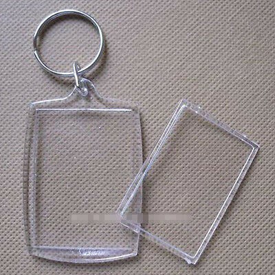 3x Transparent Blank Insert Photo Picture Frame Keyring Split Ring keychain Gift