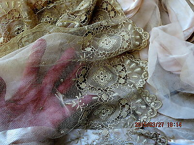 ANTIQUE EDWARDIAN DELICATE EMBROIDERY SHEER WEDDING BODICE LACE TULLE FLOUNCE 33