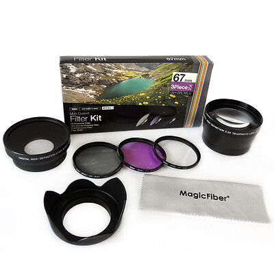67MM Starter Lens & Filter kit for Canon T4i T3i 7D 50D 60D 18-135MM 17-85MM