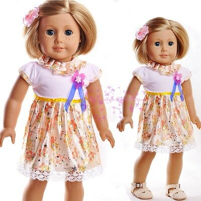 """New Doll Clothes fits 18"""" American Girl Handmade Gold&Yellow Cute Skirt Dress"""