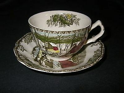 2x VINTAGE JOHNSON BROTHERS THE FRIENDLY VILLAGE CUP AND SAUCER - THE ICE HOUSE