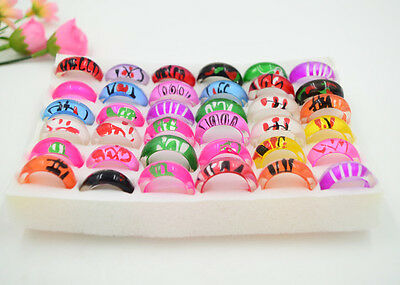 FREE  Wholesale lots jewelry 10pcs Charm Resin Lucite draw Rings 17-20mm