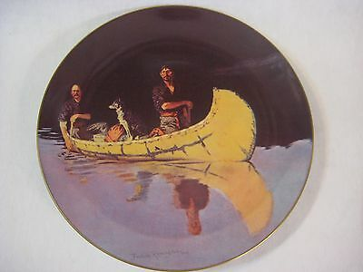 EVENING ON A CANADIAN LAKE FREDERIC REMINGTON AMERICAN 1861-1909 PLATE, SIGNED