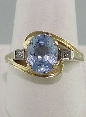LADIES 14K YELLOW GOLD 10x8mm 3.00ct OVAL LIGHT BLUE CZ SOLITAIRE RING 13mm