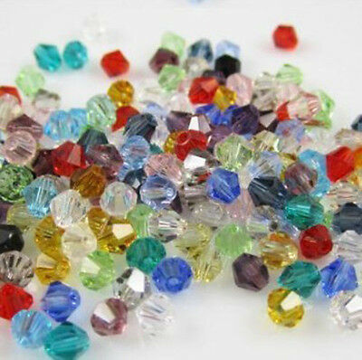 Free shipping 100pcs 4mm Loose Glass Crystal #5301 Bicone beads Mixed colors B1