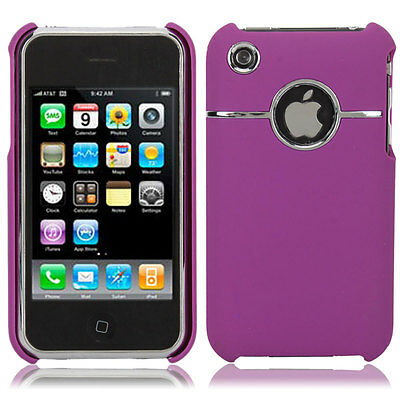 Deluxe Bling Skin Chrome Hard PC Case Cover for Apple iPhone 3G 3GS Purple