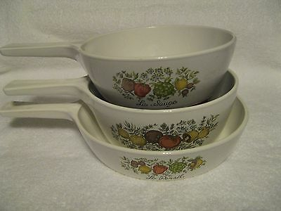 LOT OF 3 CORNING WARE COOKWARE/SKILLET, SAUCEPANS...MULTI-PATTERNED