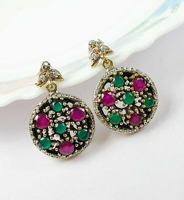 SUPERB! TURKISH JEWELRY EMERALD RUBY TOPAZ 925K STERLING SILVER EARRINGS