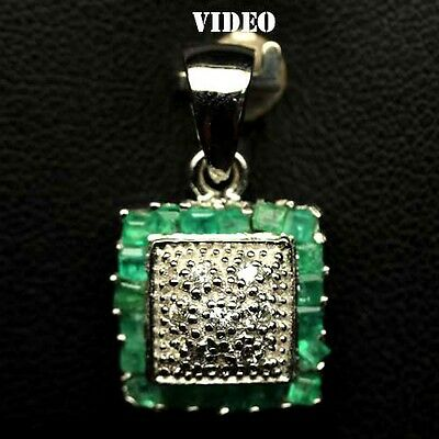 EXTREME! NATURAL! GREEN EMERALD & WHITE CZ STERLING 925 SILVER PENDANT WHITE GP
