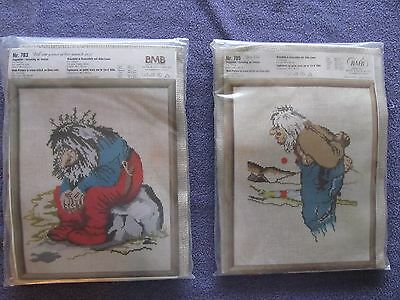 Lot of 2 RARE Theodor Kittelsen Trolls cross stitch kits NIP Norsk BMB 783 & 785