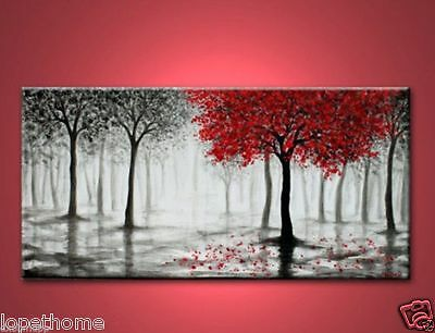 24x48 inches Arts Abstract Canvas Modern Wall oil painting:red tree(no Framed)e