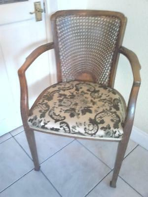 Vintage antique ? beech wood wooden wicker back upholstered hall parlour chair