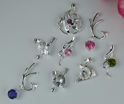 5pcs  925 Sterling Silver Mixed Color Crystal Necklace Charm Pendant I