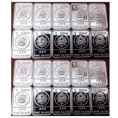 Lot of 20 X 1 Gram  .999  Fine Silver Bar /  YEWP849