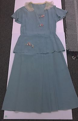 Lovely 30's-40's Cornflower Blue Crepe Day Dress w/Embroidered Embellishments GC