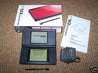 Nintendo DS Lite Crimson/Black System in Box +Charger FREE Shipping!