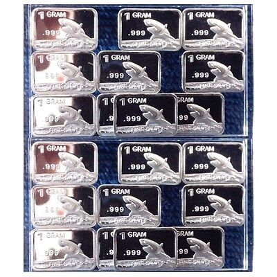 Lot of 20 X 1 Gram  .999  Fine Silver Bar / Shark  FWP887