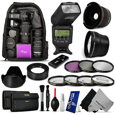 Large Backpack + Flash + Lenses & Accessory Kit for Canon Rebel T5i T4i T3i T2i