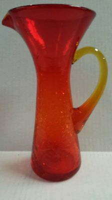 CRACKLE GLASS ART GLASS PITCHER IN AMBERINA, POSSIBLY BLENKO