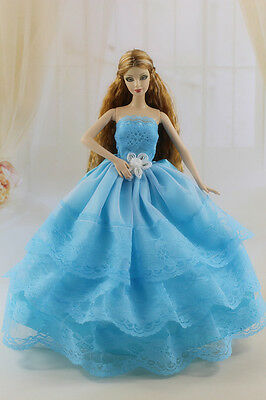 Fashion Royalty Blue Princess Party Lace Dress Ballgown For Barbie Doll a017!