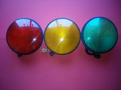 """3 Dialight LED Traffic Signal Lights /Red,Yellow,Green/ 12"""" / gaskets and plugs"""