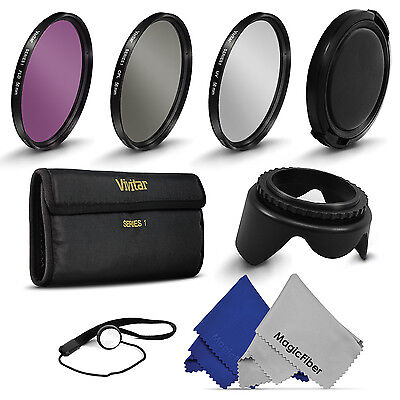 58MM Vivitar UV CPL FLD Filter Kit + Lens Hood for DSLR SLR Canon Rebel 18-55MM
