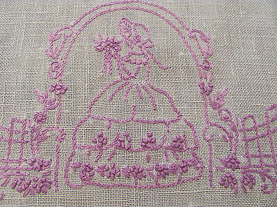 Lilac Purple Embroidered Linen Southern Belle Pretty Lady Dresser Scarf Runner