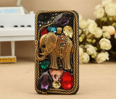 Hot Elephant Mix crystal Finished hard Case cover skin for APPLE iPhone 4 4S B