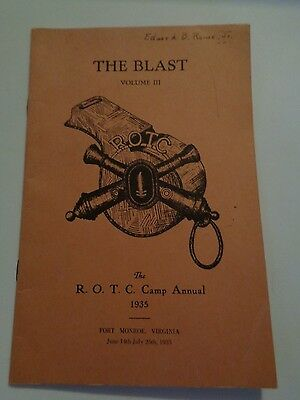 Vintage 1935 The ROTC Camp Annual Dept. of Army The Blast Vol 3 Fort Monroe, Va