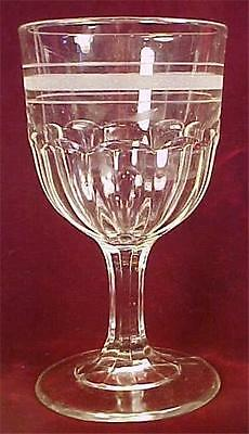 Antique Flutes Fluted Water Goblet Etched Bands Early American Pressed Glass