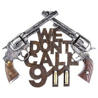 We Don't Call 911 Double Pistol Resin Wall Decor Home  Shop Bar Garage CAVE*