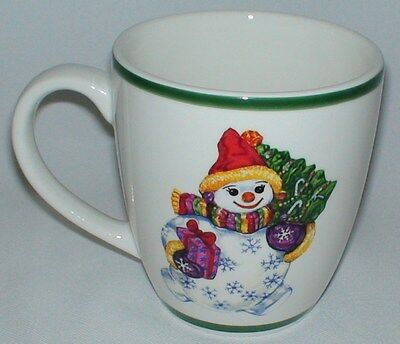 Traditions Holiday Celebrations Christopher Radko Snowman White Green Cup Mug