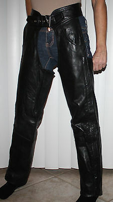 Chrome Gear Women's Black 100% Genuine Leather Lined Motorcycle Chaps Sz XS **