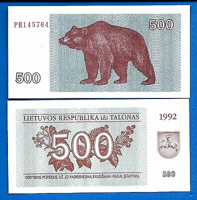 Lithuania P-44 500 Tolonas Year 1992 Uncirculated FREE SHIPPING
