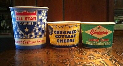 Vtg Lot 3 Wax Cottage Cheese Containers 1950s/60s All Star, Wonderland, Kroger
