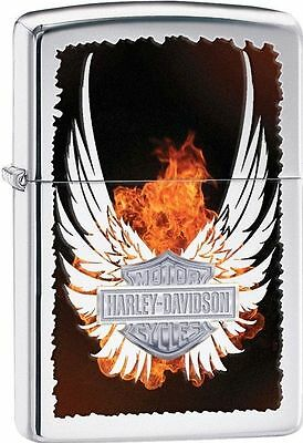 Zippo Harley Davidson Polished Chrome Lighter With Shield, # 28824, New In Box